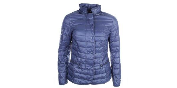 Dámska modrá bunda s bodkovanou podšívkou DJ85°C