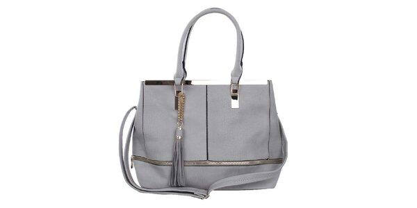 Dámska šedá kabelka so zlatými ozdobami Bessie