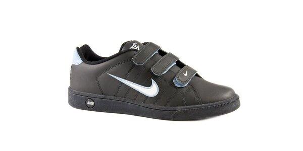 Pánske čierne kožené tenisky Nike s bielym logom