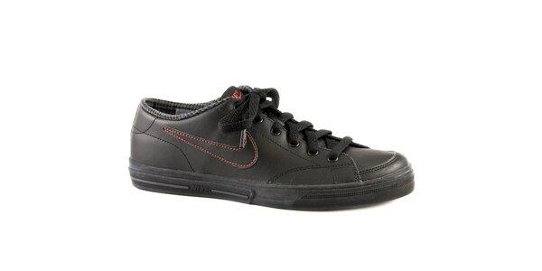 Dámske čierne kožené tenisky Nike