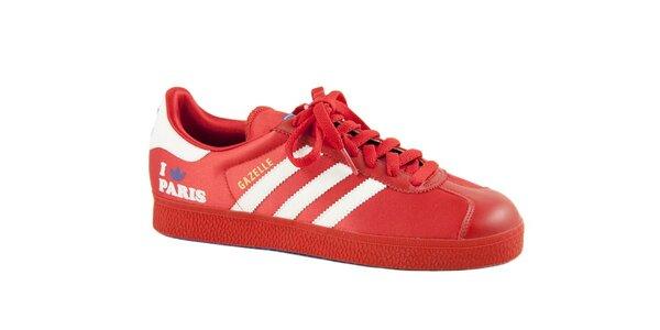Dámske červené tenisky Adidas s bielymi prúžkami