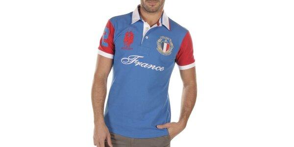Pánske modré polo tričko s červeným rukávom Bendorff Next