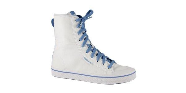 Dámske biele vysoké kotníkové tenisky Adidas s modrými detailami