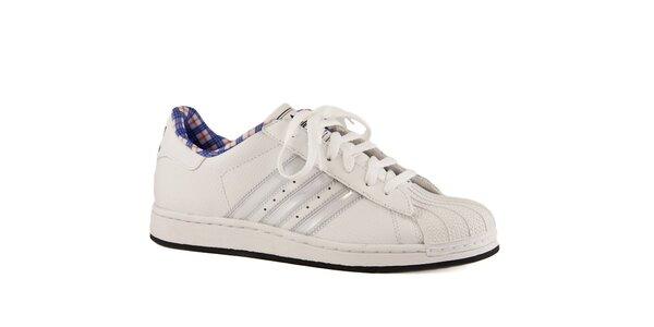 Dámske biele kožené tenisky Adidas s gumovou špičkou