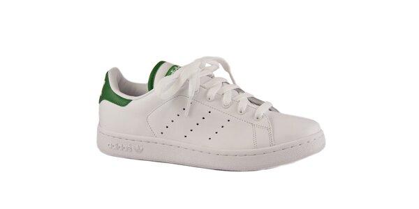 Dámske biele kožené tenisky Adidas so zelenými detailami