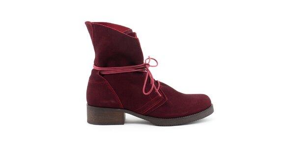 Dámske tmavo červené kožené topánky so šnurovaním Daneris