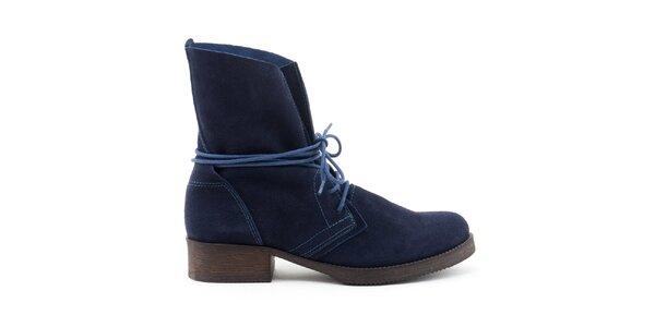 Dámske modré kožené topánky so šnurovaním Daneris