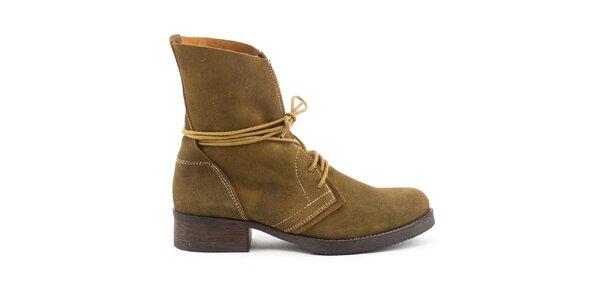 Dámske kožené topánky so žltými šnúrkami Daneris