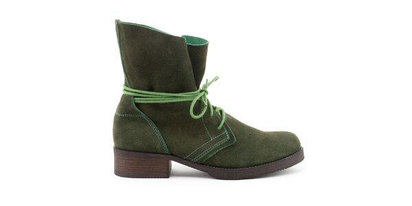 Dámske zelené kožené topánky so šnurovaním Daneris
