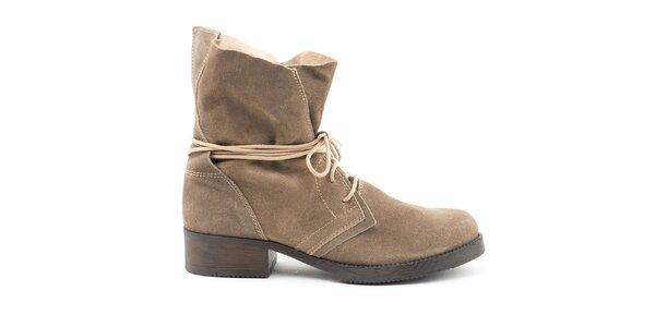 Dámske šedo-hnedé kožené topánky so šnurovaním Daneris