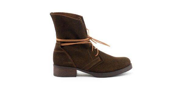 Dámske hnedé kožené topánky s kontrastným šnurovaním Daneris