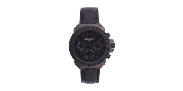 Dámske čierne analógové hodinky so Swarowski kamienkami Lancaster
