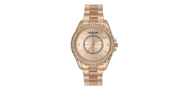 Dámske hodinky vo farbe ružového zlata a s kryštálikmi na lunete Swarovski…