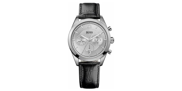 Pánske analógové hodinky s čiernym koženým remienkom a chronografom Hugo Boss