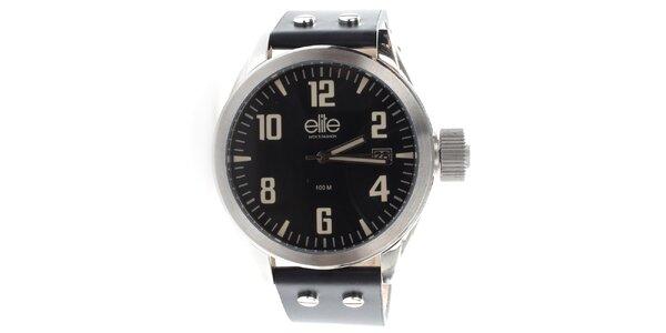 Pánske hodinky s čiernym ciferníkom a dátumovkou Elite