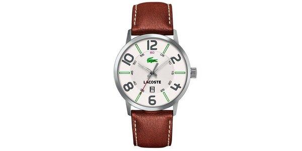 Pánske hodinky s hnedým remienkom Lacoste