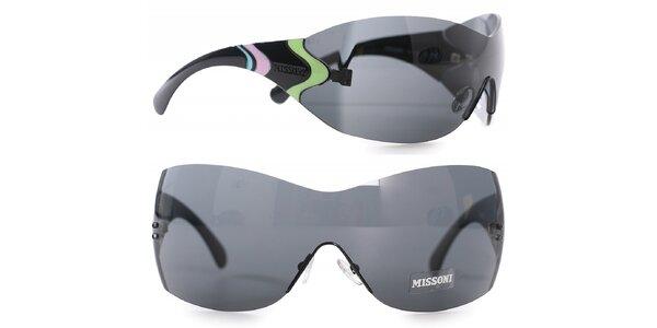 Dámske čierne slnečné okuliare Missoni s dúhovými detailami