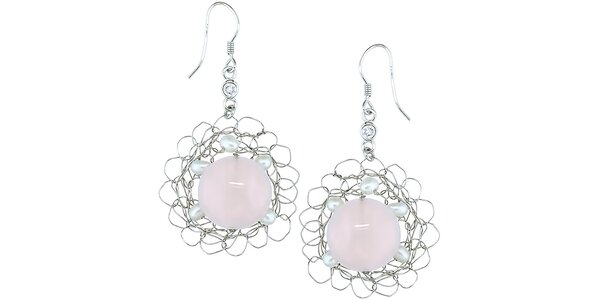 Dámske náušnice s ruženínom a perličkami Orchira