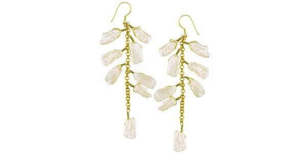 Dámske visiace perlové náušnice z pozláteného striebra Orchira