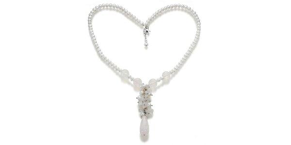 Dámsky zdobený náhrdelník s bielymi perlami a ruženínmi Orchira