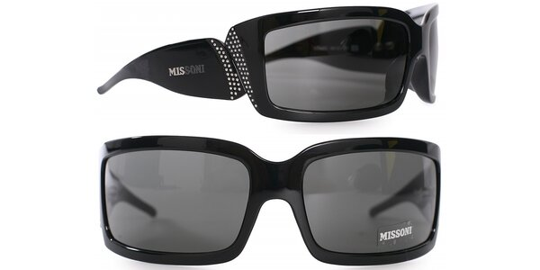Dámske čierne slnečné okuliare Missoni s kamienkami