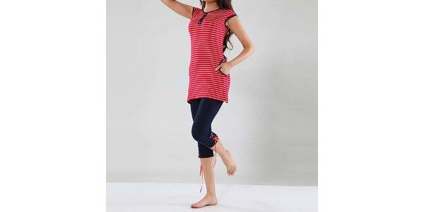 Dámske pyžamo Fagon - pruhovaný dlhší top a tmavo modré nohavice