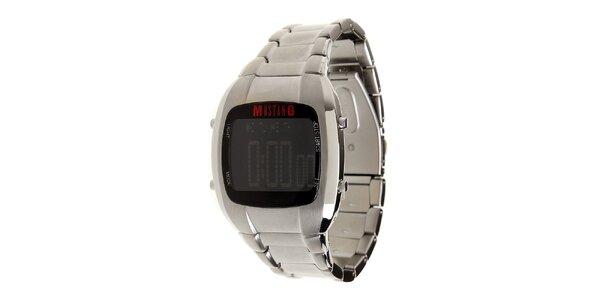 Pánske strieborné oceľové digitálne hodinky Mustang