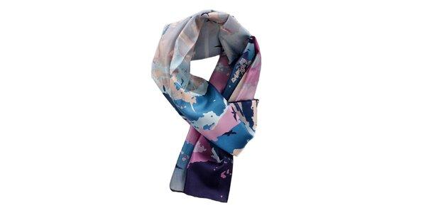 Dámska modro-ružová hodvábna šatka Fraas