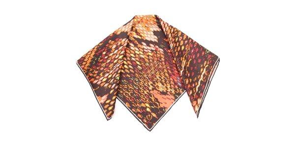 Dámska hnedo vzorovaná hodvábna šatka Fraas