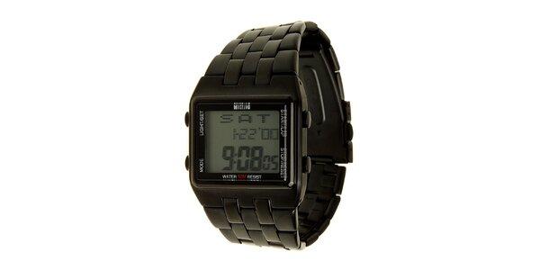 Pánske čierne oceľové digitálne hodinky Mustang