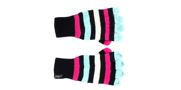 Dámske čierne rukavice s farebnými pruhmi Fundango