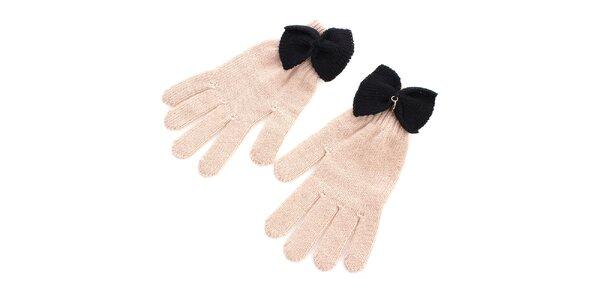 Dámske béžové rukavice s čiernou mašľou Gaudí