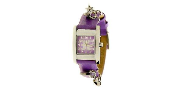 Dámske oceľové hodinky Mustang s fialovým remienok a príveskami