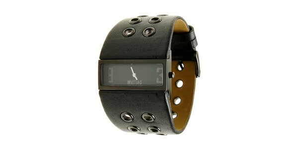 Dámske oceľové hodinky Mustang s čiernym širokým remienok