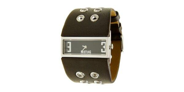 Dámske oceľové hodinky Mustang s hnedým širokým remienok