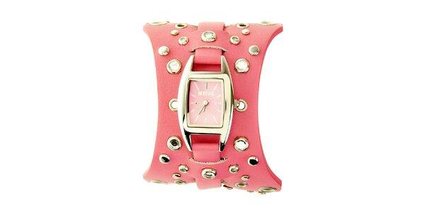 Dámske ružové hodinky Mustang s koženým remienkom