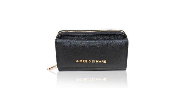 Dámska čierna peňaženka so zlatým zipsom Giorgio di Mare