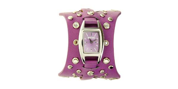 Dámske fialové hodinky Mustang s koženým remienkom