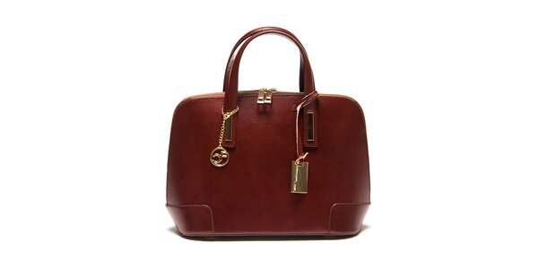 Dámska tmavo hnedá kufríková kabelka Carla Ferreri