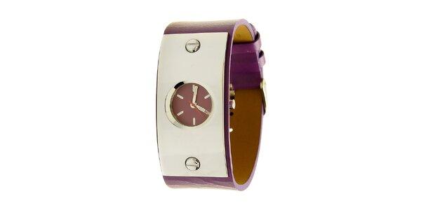 Dámske oceľové hodinky Mustang s fialovým remienok