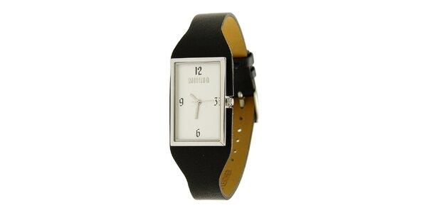 Dámske oceľové hodinky Mustang s čiernym koženým remienkom
