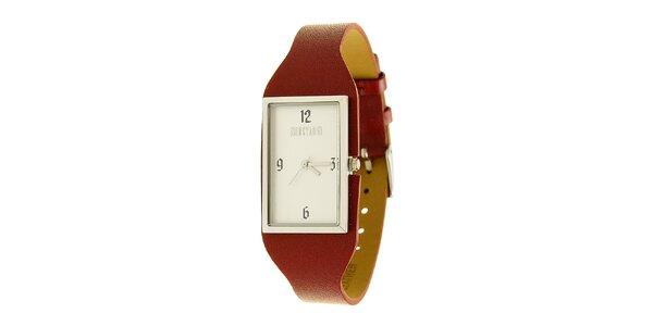 Dámske oceľové hodinky Mustang s červeným koženým remienkom