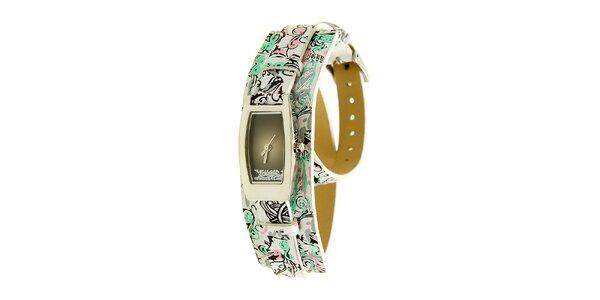 Dámske oceľové hodinky Mustang s bielym potlačeným remienkom