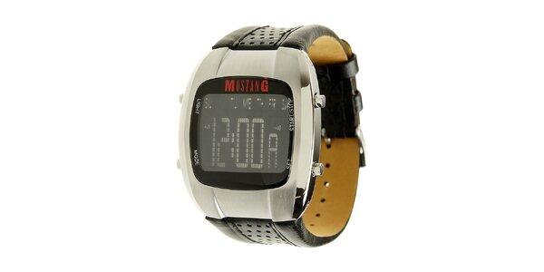 Pánske digitálne hodinky Mustang s čiernym koženým remienkom