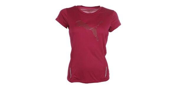 Dámske tmavo ružové fitness tričko Puma