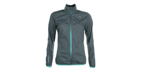 Dámska šedá bežecká bunda s farebnými prúžkami Puma