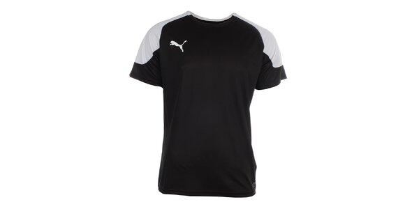 Pánske čierno-biele športové tričko Puma