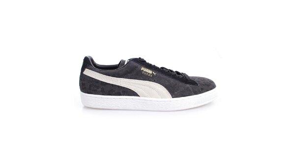 Pánske šedo-čierno-biele vzorované tenisky Puma