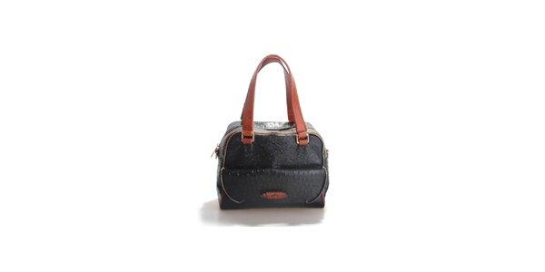 Dámska čierna kabelka Belle & Bloom v efekte pštrosej kože