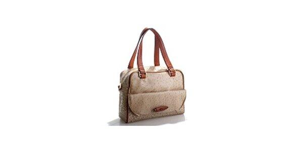 Dámska béžová kabelka Belle & Bloom v efekte pštrosej kože
